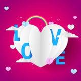 Miłość Baloon Dla walentynki ` s dnia wydarzenia, Ślicznej I Romantycznej menchii, Barwi Papercut ilustrację ilustracja wektor