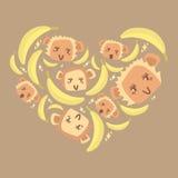 Miłość banany Fotografia Stock
