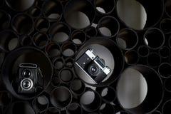 Miłość dla fotografii, twórczość Twórczość Dwa ekranowej kamery na czarnym abstrakcjonistycznym tle uczenie fotografia zdjęcie stock