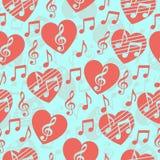 Miłość dla muzyki, muzykalny abstrakcjonistyczny wektorowy tło, bezszwowy wzór Zdjęcie Stock
