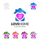 Miłość dom, nieruchomość loga wektorowy projekt z Unikalnym domem Obraz Stock