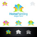 Miłość Domowy logo, Maluje Wektorowego loga projekt Zdjęcia Royalty Free