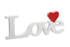 Miłość drewniany znak Zdjęcia Royalty Free
