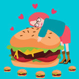 Miłość hamburgeru junknfood kochanka wyśmienicie mięsny smakowity Obraz Royalty Free