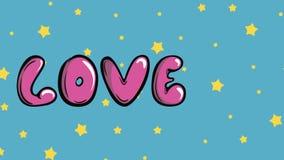Miłość i gwiazdy na błękicie ilustracji