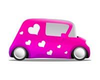 Miłość i kierowe mini kreskówka samochodu menchie Obrazy Stock