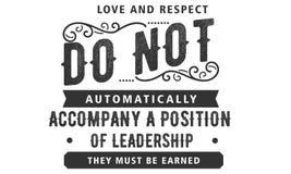 Miłość i szacunek automatycznie no towarzyszymy pozyci przywódctwo royalty ilustracja