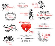 Miłość i Valentine dnia kaligraficzni chodnikowowie ilustracji