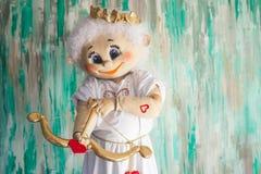 miłość jest dzień st serce walentynki Amorek z miłość strzała Obrazy Royalty Free