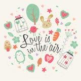 Miłość jest w lotniczym kartka z pozdrowieniami projekcie Obrazy Stock
