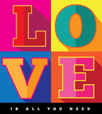Miłość jest wszystko ty potrzebujesz płaskiego projekta wystrzału sztuki plakat Obrazy Stock