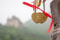 Miłość kędziorek na wielkim murze Chiny Obraz Stock