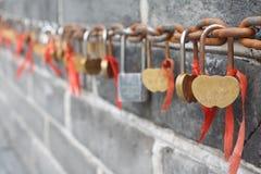 Miłość kędziorki na wielkim murze Chiny Zdjęcie Stock