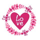 Miłość Karcianego projekta Retro tło Z Różowym sercem Na Białym walentynka dnia dekoraci sztandarze Fotografia Royalty Free