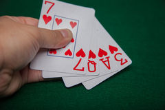 Miłość karty w ręce Zdjęcia Royalty Free