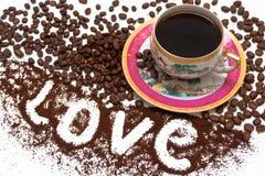 Miłość kawa Obrazy Royalty Free