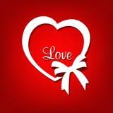 Miłość kierowy kształt z tasiemkowym łękiem Obraz Royalty Free