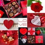 Miłość kolaż w czerwieni, czarny i biały kolory zdjęcie stock