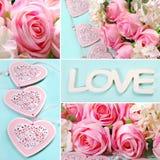 Miłość kolaż w pastelowych kolorach zdjęcie stock