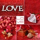 Miłość kolaż z czerwonym błyskotliwości tłem obraz royalty free