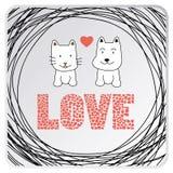 Miłość kot card3 i pies royalty ilustracja