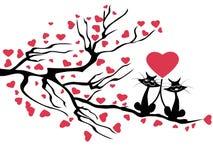 Miłość koty drzewo, wektor Obraz Royalty Free