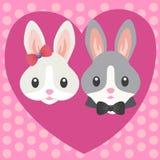 Miłość króliki Serce kształtująca rama z zając royalty ilustracja