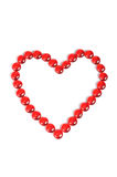 Miłość kształt od pięknych czerwonych kamieni Obraz Stock