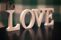 Miłość kształta teksta list Zdjęcia Stock