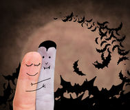 Miłość między wampirem i istotą ludzką royalty ilustracja