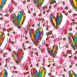 Miłość muzycznego okręgu bezszwowy wzór ilustracji