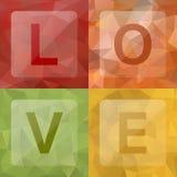 Miłość na abstrakcjonistycznym geometrycznym miętoszącym trójgraniastym niskim poli- stylowym tle Obrazy Stock