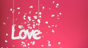 Miłość na czerwonym tle z confetti Obrazy Stock