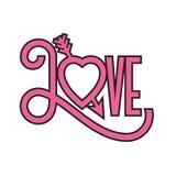 Miłość płaskiego projekta typograficzna ilustracja z strzała przez serca royalty ilustracja