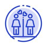 Miłość, para, Washroom, znak linii linii błękit Kropkująca ikona ilustracja wektor