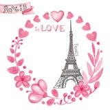 miłość Paris Akwarela kwiecisty różowy wianek, wieża eifla Fotografia Stock