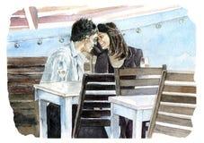 miłość pary Kawiarnia ilustracji