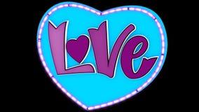 Miłość pisze list 2D animację z alfa kanałem Neonowi stylów listy z faborku i dekoracji neonowym sercem _ zdjęcie wideo