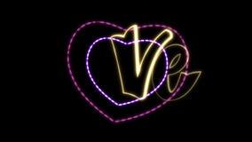 Miłość pisze list 2D animację z alfa kanałem Neonowi stylów listy z faborku i dekoracji sercami _ magia zdjęcie wideo