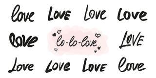 Miłość pisze list wektorowego narzuta set Ręcznie pisany słowa w różnych graficznych stylach ilustracji