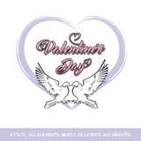 Miłość ptaków walentynki Purple Heart ilustracja wektor