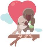 Miłość ptaki i drzewo ilustracja wektor