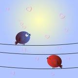 Miłość ptaki i drzewo Zdjęcia Royalty Free