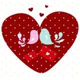 Miłość ptaki w sercu Zdjęcia Stock