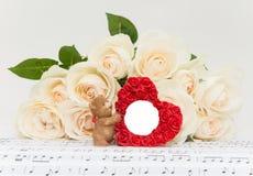 Miłość róże i rama Zdjęcia Stock