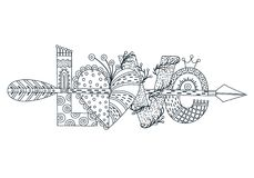 Miłość Ręka rysujący literowanie szczęśliwy dzień valentine s Serce z strzała Freehand styl doodle kontur obraz Obraz Royalty Free