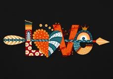 Miłość Ręka rysujący literowanie szczęśliwy dzień valentine s Serce z strzała Freehand styl doodle Wakacje w Luty Obraz Stock
