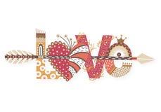 Miłość Ręka rysujący literowanie szczęśliwy dzień valentine s Serce z strzała Freehand styl doodle Wakacje w Luty Fotografia Stock