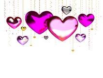 Miłość serc dekoraci menchii czerwień multicolor Romantyczny szczęśliwy radości związek Walentynka dnia kartka z pozdrowieniami p Zdjęcie Royalty Free
