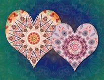 Miłość serc mandalas Zdjęcia Stock